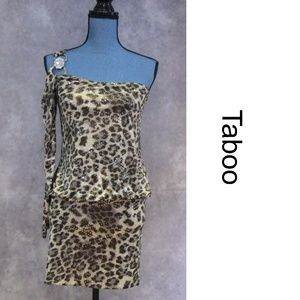 NEW Taboo One Shoulder Animal Print Dress Size S